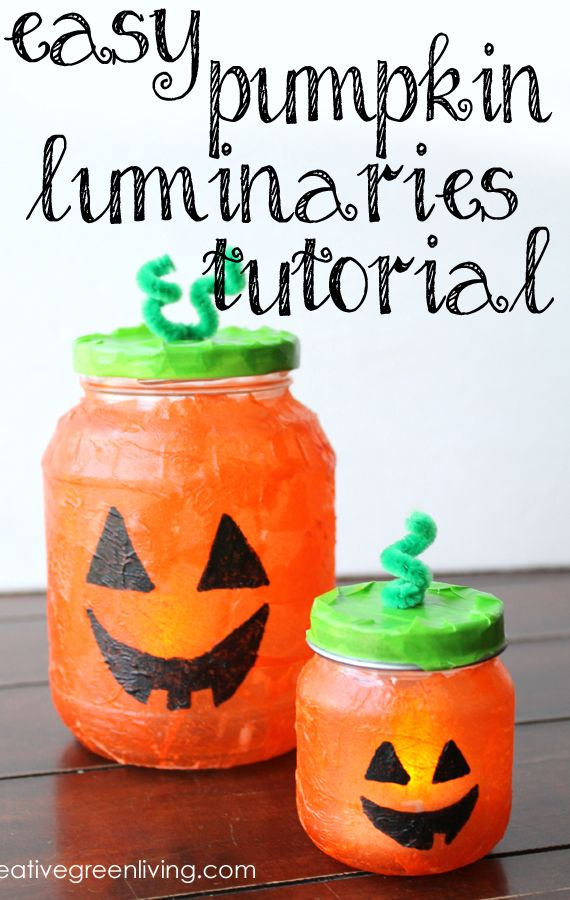 how to make recycled jack o lantern luminaries easy halloween craftshalloween kidshalloween