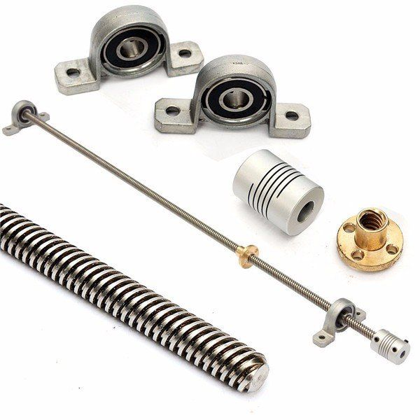 T8 500mm Lead Screw Set with Shaft Coupling and Mounted Ball Bearing