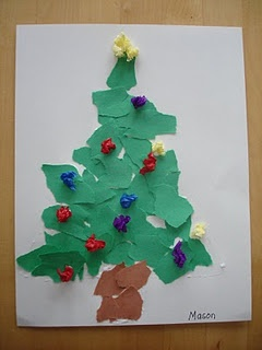 K - Torn Paper Christmas Tree