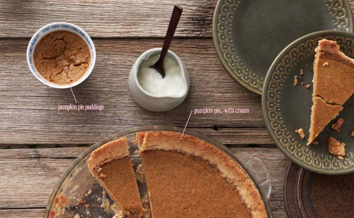 Pumpkin Pie Puddings with Nut Crunch via @iquitsugar