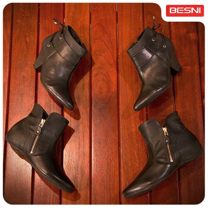 Rasteiras ou com saltinho? Confira os novos modelos de botinhas na Besni. #botas #rasteiras #saltinhos #Besni #combinacomvocê