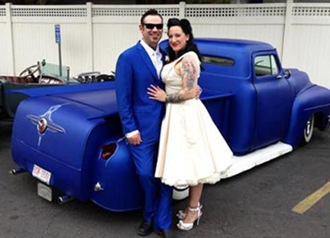 Blue Velvet Vintage customer, Krista,  Vegas wedding photo, with her new husband and fab 55 Ford pickup!  #bluevelvetvintage #vegasweddings