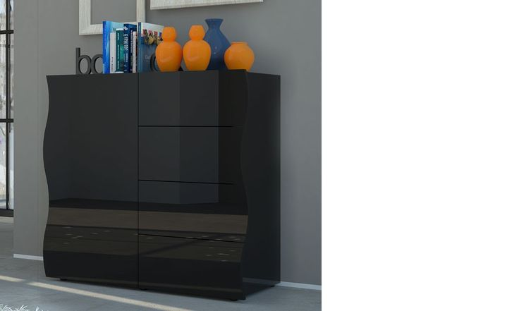 Buffet haut noir laqué design DIXON | Buffet design | Pinterest ...