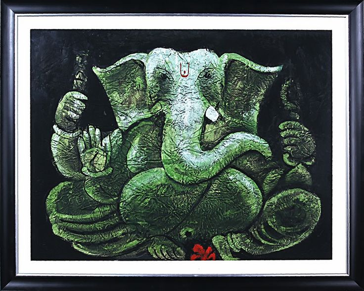 Lord Ganesh (Green Ganesha) painting with metallic green color on handmade paper gives a rustic feel to the image that depict elephant God face. It's metallic acrylic painting on handmade crushed paper and is a beautiful home/office decor piece