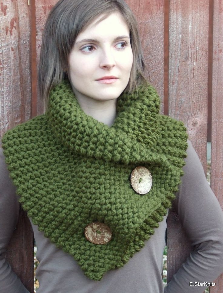chunky button cowl shawl neck warmer - cilantro - the anouk
