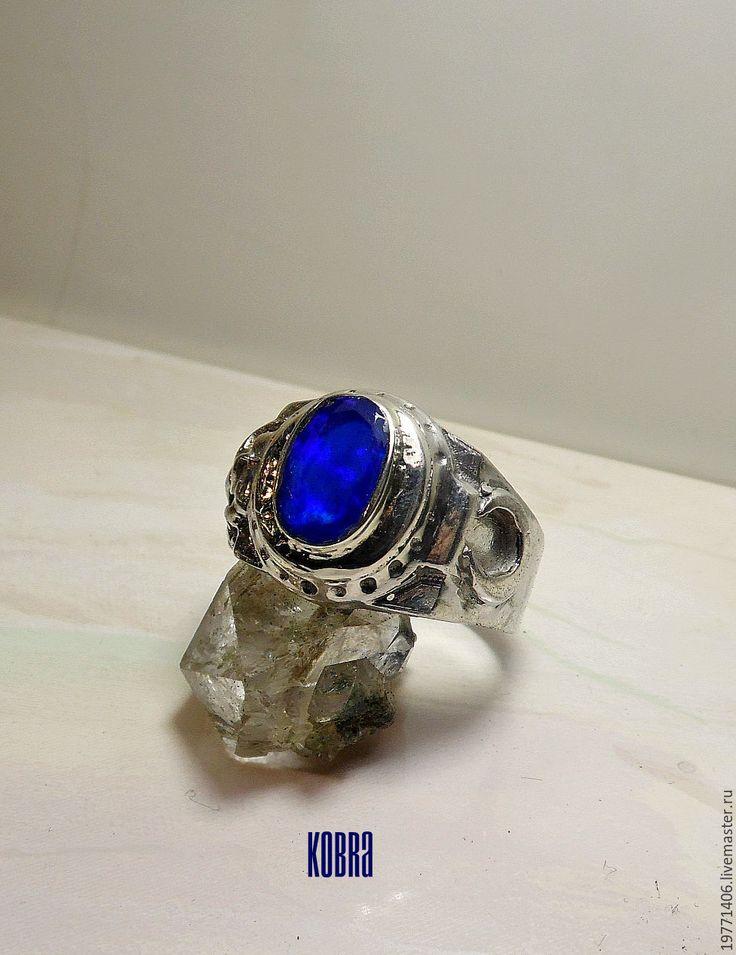 Купить кольцо с опалом - синий, кольцо с опалом, натуральные камни, кольцо, кольцо ручной работы