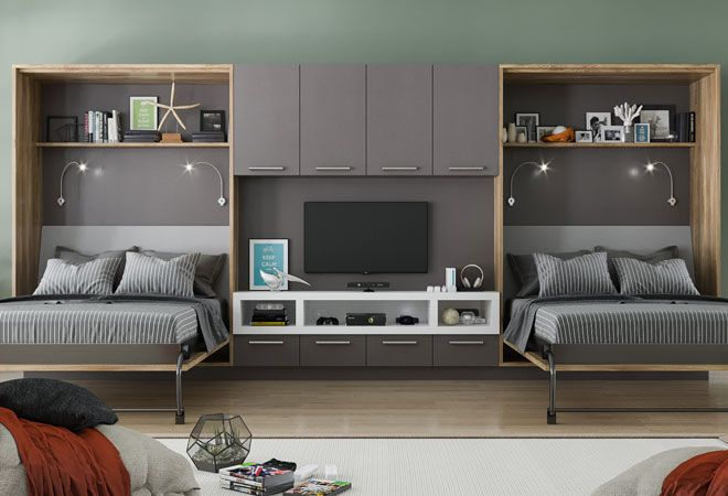 Murphy Beds Wall Beds Murphy Bed Lifestyles Space Saving Ideas Bed In Living Room Small Living Room Design Living Room Design Styles Murphy bed in living room