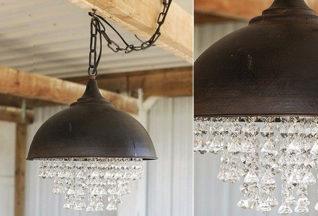 Metal Chandelier With Glass Crystals - From Antiquefarmhouse.com - http://www.antiquefarmhouse.com/past/glam6/metal-chandelier-with-glasscrystals.html
