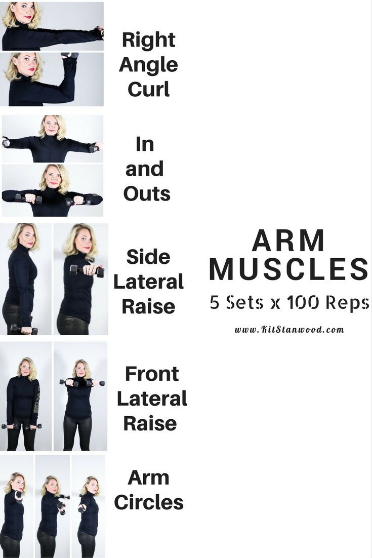 arm muscles workout with dumbbells