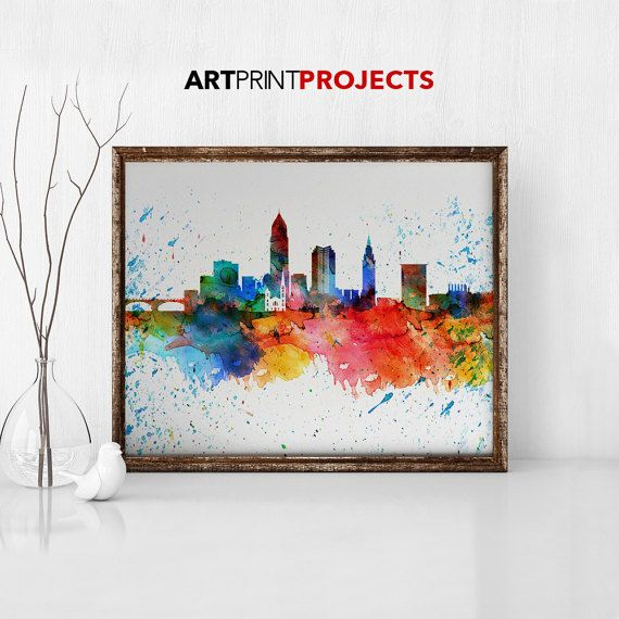 Cleveland skyline Watercolor print poster Wall by ArtPrintProjects
