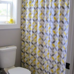 Yellow And Grey Flower Shower Curtain