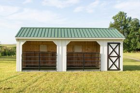 12×24 Horse Barn | Run In Shed with Gates and Tack Room