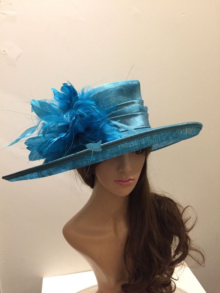 LARGE TURQUOISE FORMAL OCCASION HAT | eBay