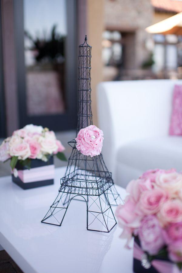Paris-Inspired baby shower theme of Celebrate Flowers & Invitations via www.babyshowerideas4u.com #babyshowerideas4u