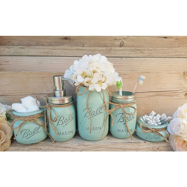 Mason Jar Bathroom Decor Seafoam Bathroom Set Painted Mason Jar... ($37) ❤ liked on Polyvore featuring home, bed & bath, bath, bath accessories, bathroom, bathroom décor, home & living, white, stainless steel bathroom accessories and stainless steel toothbrush holder