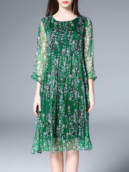 Floral-print Crew Neck A-line Frill Sleeve Pleated Midi Dress