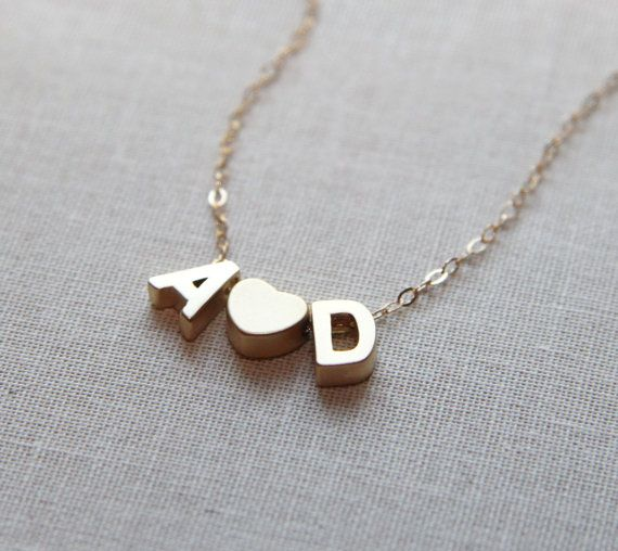 love letters necklace tiny gold initial necklace with heart personalized necklace