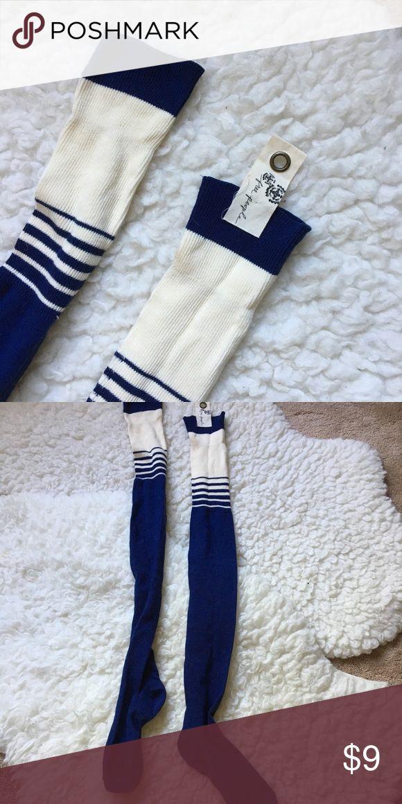 Free people thigh high navy stripe socks Free people thigh high navy and cream socks Great for fall!! OS Free People Accessories Hosiery & Socks