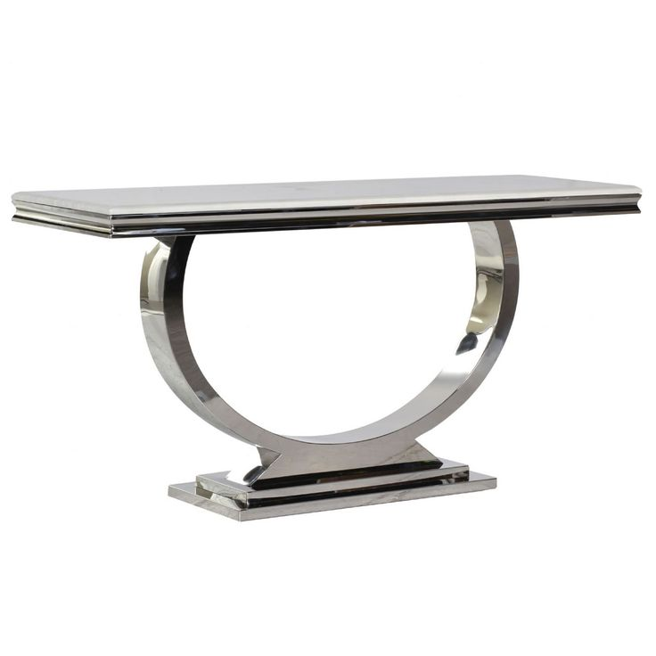 Cream Marble and Chrome U-Shaped Console