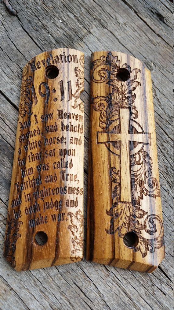 1911 Grips Revelation 19:11 Zebra Wood Fits Colt by CustomWarrior