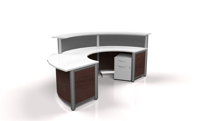 A stunning curved reception desk in Nova white work-surface, Honduras Mahogany and Frosted acrylic divider panels.  It has one Pedestal - box, file