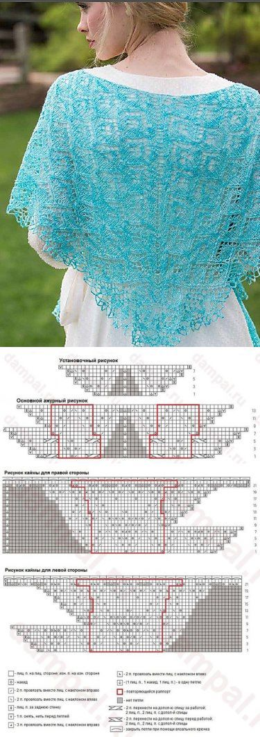 Голубая ажурная шаль «Фэйола»