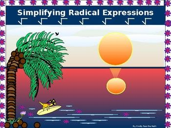 The following Power Point introduces students to a totally new concept allowing them to use their understanding of fractions and prime factors in a totally new way.. * Students learn to identify the parts of a Radical Expression; Radicand and Radical *