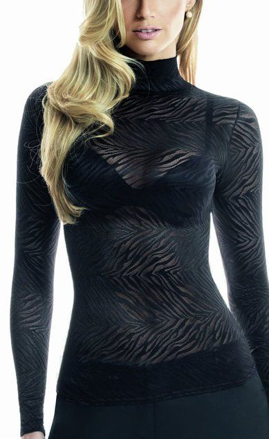 animal print zebra chemise transparente noir   voir à travers l'apparence T-shirt à col roulé  taille: petit, moyen, grand