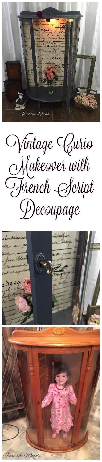 Vintage Curio Cabinet makeover with french script fabric decoupage by Just the Woods