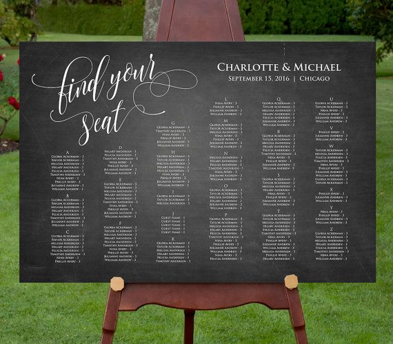 This listing is an INSTANT DOWNLOAD that includes a high resolution Wedding Seating Chart template in a PDF format for you to edit at home, upload it to a copy shop such as Staples or OfficeMax for print. Display your seating chart in a picture frame or have it mounted on foam core. ---------------------- WHAT YOU GET ---------------------- • 18 x 24 Wedding Seat Chart Template (up to approx. 150 guest names ) • 24 x 36 Wedding Seat Chart Template (up to approx. 240 guest names) Include…