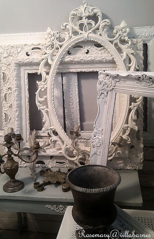 I must say that there is a such a charm when decorating with vintage frames, painted and displayed. I love them.