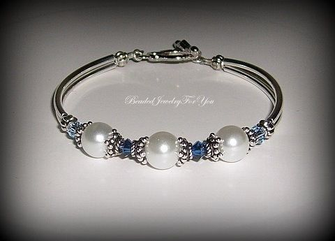 Wedding Bracelet  White Pearls and Sapphire by beadedjewelryforyou, $29.99