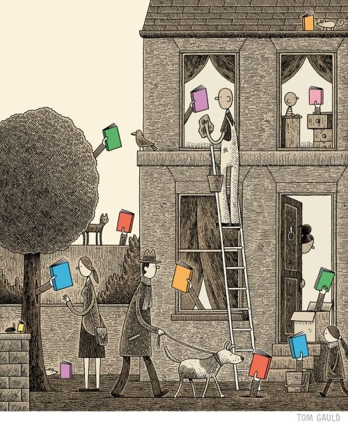 Tom Gauld's cover for The Guardian Review's 2014 books of the year issue.