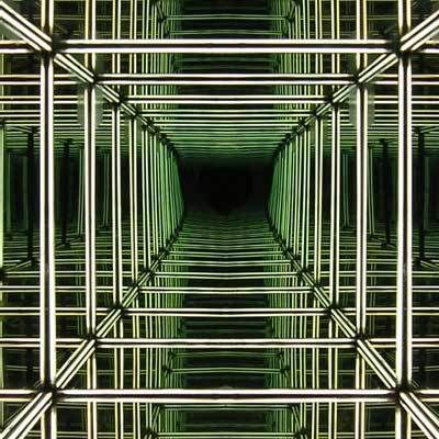 """In this cube installation based on the principle of one way mirror or """" spy glass """" three out of six surfaces of the cube are made of flexib..."""