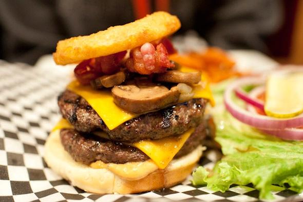 Bronx-asaurus burger at Liberty Burgers and Wings in Toronto.