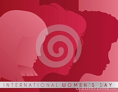 Women Faces silhouettes  in pink and red palette with a ribbon with Women's Day celebration