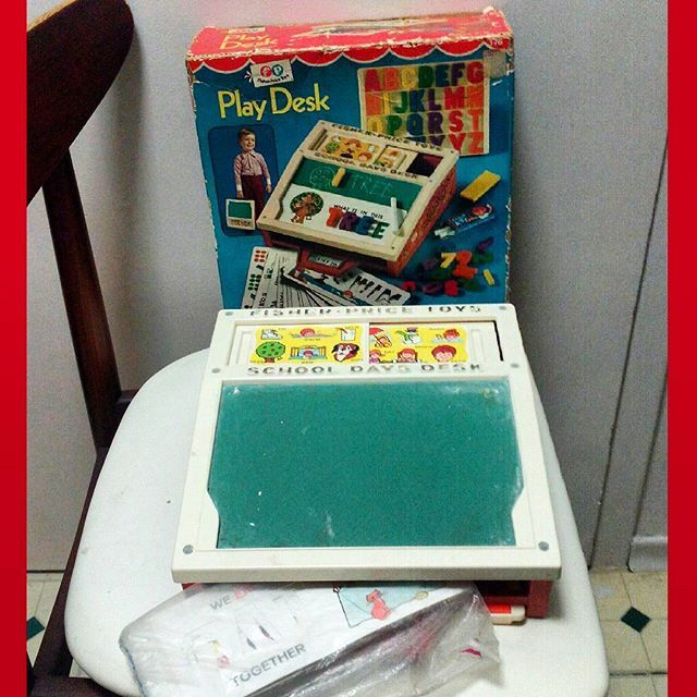 #70s #fisherprice Play Desk with all parts and box.  #learning #preschool #chalkboard #toy #vintagefisherprice #vintagetoy #educationaltoys #educationaltoy #1970s #niagarafleamarket #rolypolyrecords