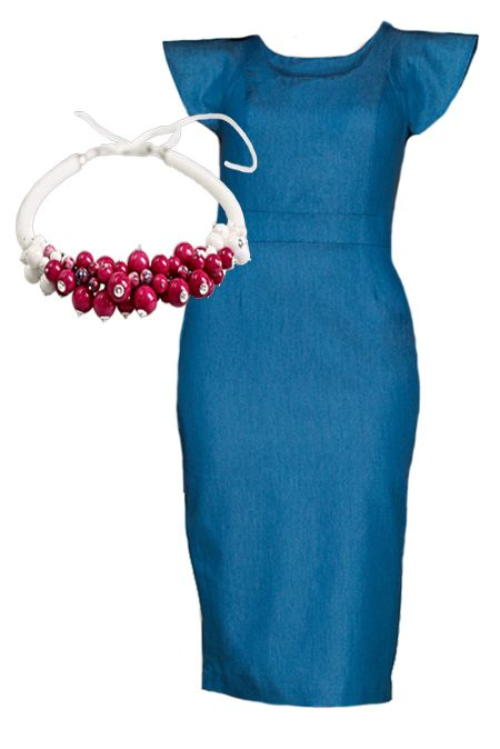 Мини образ с джинсовым платьем и колье  купить за 759 грн. в интернет-магазин Stilecity  ✔ Лучшие цены ☆ Создайте свой собственный образ ♡ #Stilecity, новый капсульный гардероб на каждый день. Образ содержит: платье колье