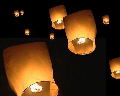 10 x Eco Friendly Sky Lanterns for Christmas, New Years Eve, Chinese New Year, Weddings & Parties (40cms 58cms x 105cms):Amazon:Garden & Outdoors