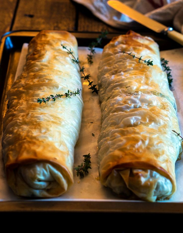 Nouvelle Exotic Mushroom Phyllo Roll - we cannot stop drooling!