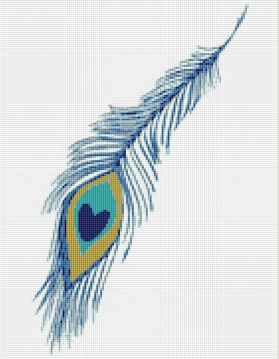 Blue Peacock Feather Cross Stitch Pattern, Counted Cross Stitch Chart, PDF Instant Digital Download, Embroidery Pattern, Needlework Pattern