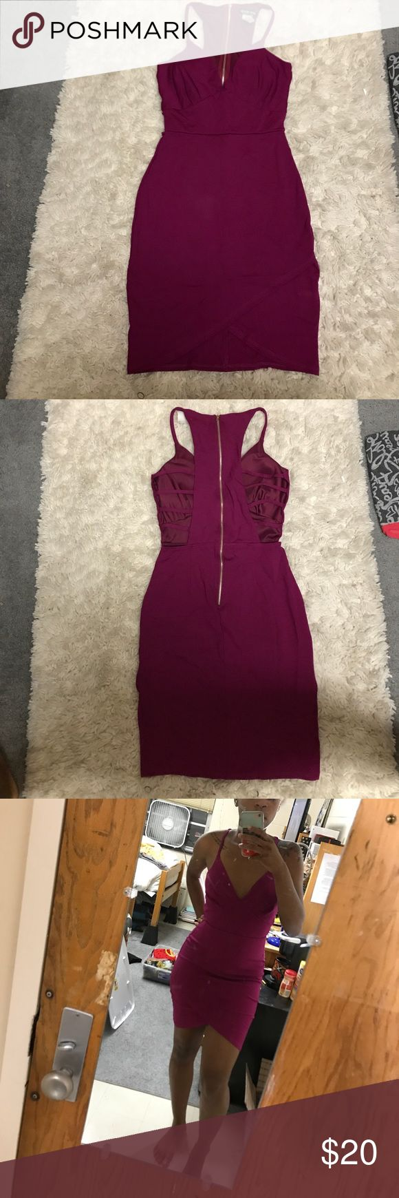 Fashionnova Gonna Get You Dress Magenta bodycon dress with a strappy back and tulip skirt. Fashion Nova Dresses Mini