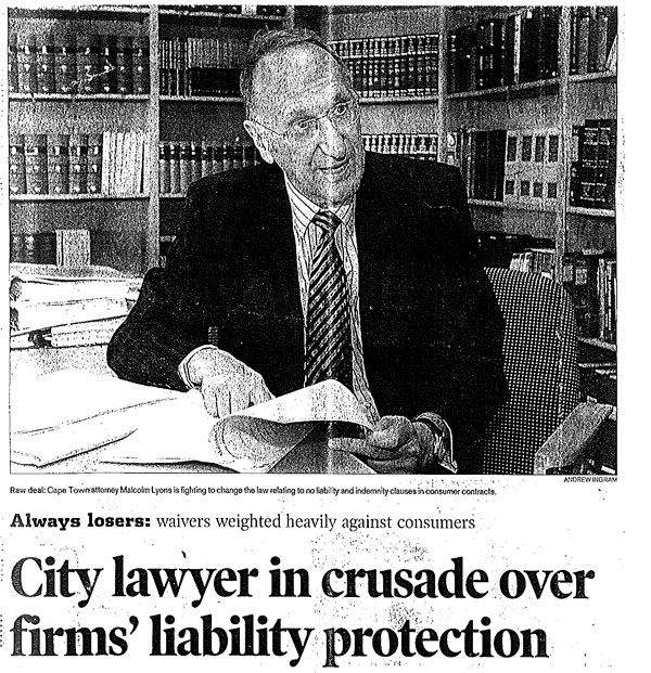 Cape Argus Article: City Lawyer in Crusade Over Firms' Liability Protection #PersonalInjuryLaw #attorneys #southafrica    Read more on: http://lyonsbriviklaw.com/cases_city_lawyer.html
