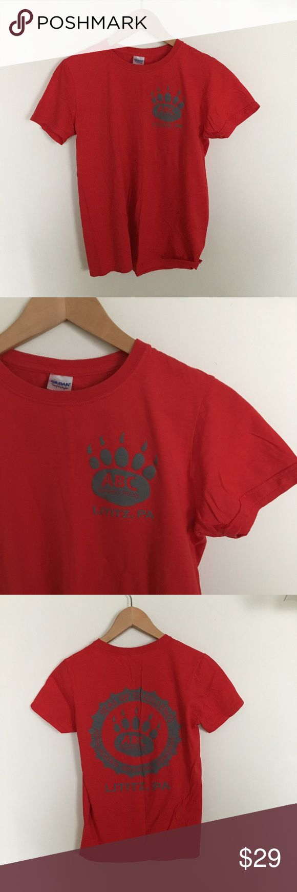 Vintage Brewing Tee Vintage Gildan Softstyle Tee. Adult size small. Bright crisp red with gray Appalachian Brewing Company Seal of Excellence Paw screen print. Tops Tees - Short Sleeve