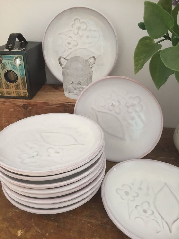 Set of 8/ekeby/anna lisa thomson/sandwich plates/1930s/white/stoneware/swedish pottery/ art nouveau by WifinpoofVintage on Etsy