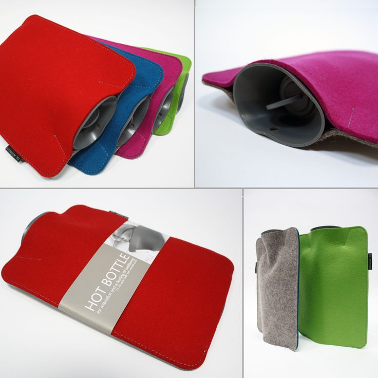 Hot Bottle:  The highly insulating (wool) felt keeps the hot water bottle warm. Can be used as a pillow on your couch, on the floor or in your bed: for relaxation and a feeling of wellbeing! http://www.bouwjaar63.nl/webshop/hoezen/hot-bottle/
