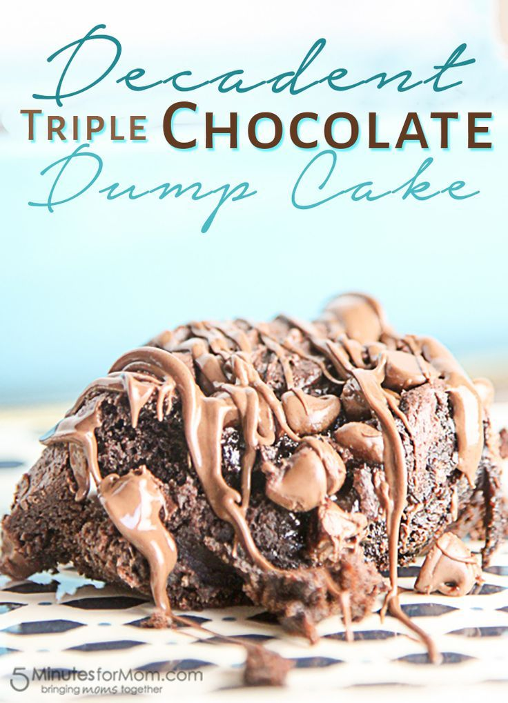 This decadent triple chocolate dump cake is easy and uses only 4 ingredients! #ad #EasyRecipes #chocolatecake