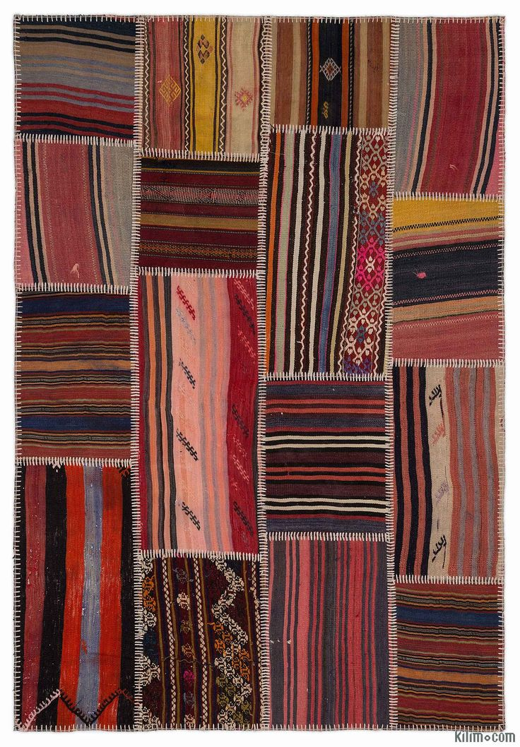 Colorful 5'3'' x 7'7'' (160 cm x 230 cm) kilim patchwork rug created from vintage kilim fragments. The rearrangement of the fragments transforms the ancient craft of rug making into unique artwork suited for contemporary settings at home or in offices. Eco-friendly and creative, each kilim patchwork rug is unique in its coloring and design. A cotton backcloth and buckram serves to strengthen and reinforce the rug. All our vintage area rugs are professionally cleaned and odorless.