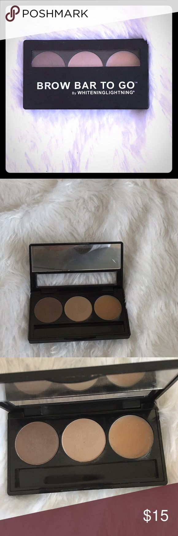 Whitening lightning brow pallet Brow bar to go. Light brown, dark brown and wax. Make your eyebrows stand out. Used a few times only. Makeup Eyebrow Filler