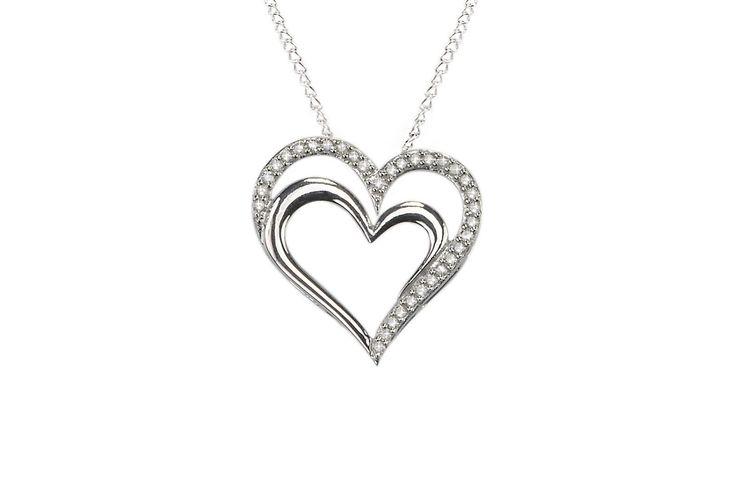 """925 Sterling Silver .25 TCW Diamond Double Heart Pendant Necklace, 18"""" Diamond Double Heart Pendant on 18 inch chain Womens Diamond Necklace Open Heart Pendant Genuine Diamond .25ct 925 Sterling Silve"""